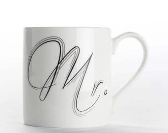 "Coffee mug, coffee cup ""Mr."" bone china mug"
