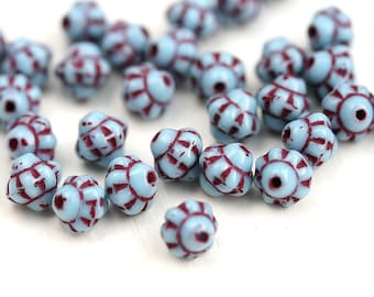 30pc Fancy Bicone beads, Blue and Red Czech Republic glass spacer beads - 6mm - 2894