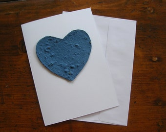 Sympathy card - Blue heart - Plantable paper heart greeting card - Made with Chinese Forget-Me-Not seeds - Funeral, memorial, Pet sympathy