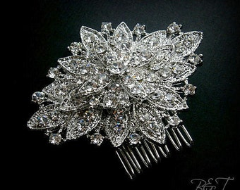 Bridal Crystal Hair Comb Vintage Weddings Rhinestone Brooch Comb Marquis Rhinestone Flower Brooch Comb