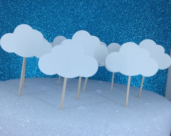 Up in the air party, cloud cupcake toppers, Baby shower,