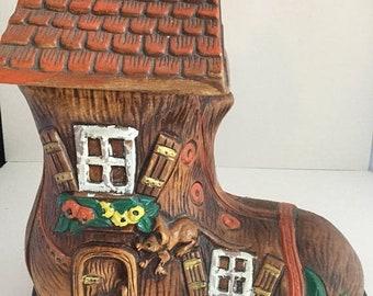 Spring Vintage Old Woman Shoe Boot Cookie Jar! Marked 874 USA!/ Midcentury Cookie Jar/ Handpainted Cookie Jar