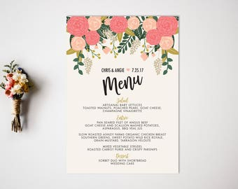Wedding Menu  Reception  Vintage Wedding Decor  Botanical wedding  Wedding Menu Card  Reception Menu  Food Labels  Spring