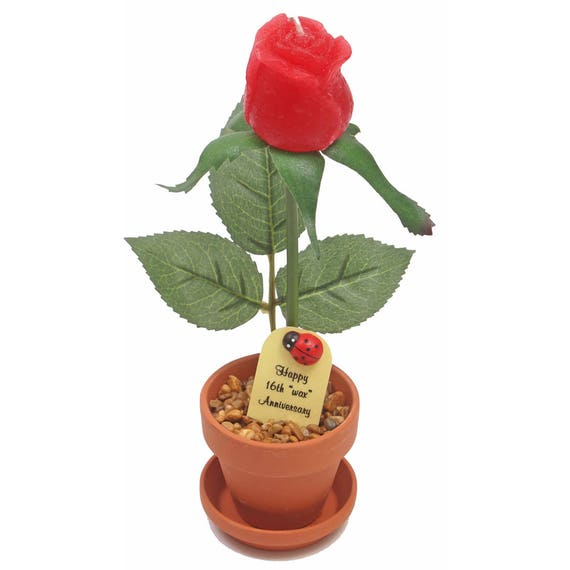 16th Wedding Anniversary Gift Ideas For Her: 16th Anniversary Gift Candle Rose