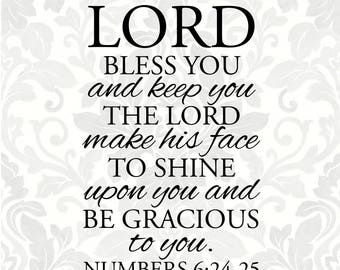 The Lord bless you and keep you the Lord make his face to shine... - Numbers 6:24-25; Baptism SVG (SVG, PDF, Digital File Vector Graphic)