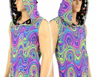 Mens Sleeveless Neon Glow Worm Print Shirt with Rainbows and Unicorns Hood Lining & Dragon Spikes - 154991