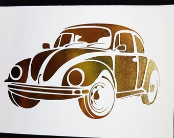 Oops Item - Classic Volkswagen Beatle Gold Foil 5 x 7 Print - Punch Buggy
