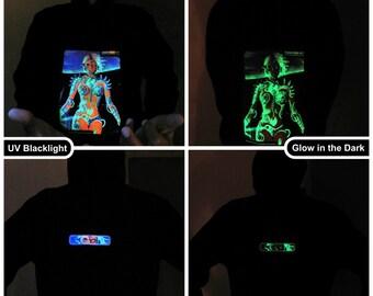 Biomechanoid UV Black Light Fluorescent & Glow In The Dark Phosphorescent Psychedelic Psy Goa Trance Art Club Mens Hoodie
