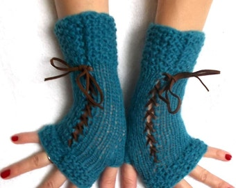 Fingerless Gloves Corset Wrist Warmers Handknit in Turquoise Blue Victorian Style