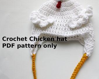 Instant download Crochet Chicken Hat PDF PATTERN ONLY