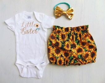 Sunflower Baby Girl Outfit/ Baby Girl Summer Outfit/ Baby Girl Bloomers and Headband/ Toddler Summer Outfit/ Newborn Summer Outfit