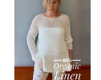 Linen sweater, Knit linen sweater, Oversized linen sweater,Natural linen sweater,Boho linen sweater,Natural fibers,Organic sweater,JPalKnits