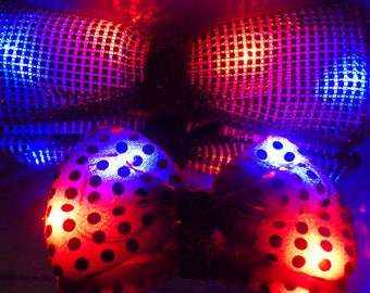 Light up bow tie; red & blue flashing LED lights in bowtie; bling bows, rhinestones, sequins, spider webs, snowflakes, ...