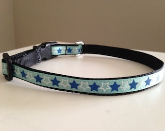 Blue and White Stars 1/2 inch Small Dog Collar