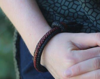 Kangaroo Leather Red Belly Black Bracelet