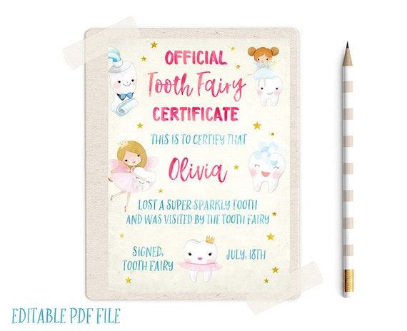 tooth fairy letters editable tooth record tooth certificate tooth 13873