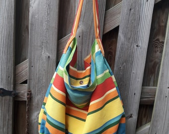 Oversized Striped Canvas/ Beach/Hobo Bag