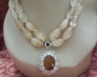 Two strand citrine beaded necklace with sterling silver center drop