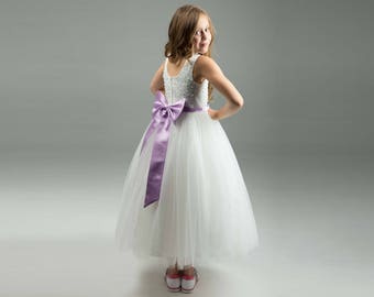 Purple Lavender Flower Girl Dress -- Floor Length Flower Girl Dress -- Flower Girl Tulle Dress