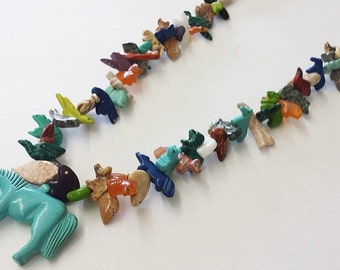 Horse Multicolored Mixed Animals Fetish Necklace