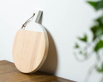 Wooden board with leather strap//minimalist cutting board with white lacquer//geometric board for Cutting & serving/Breakfast board