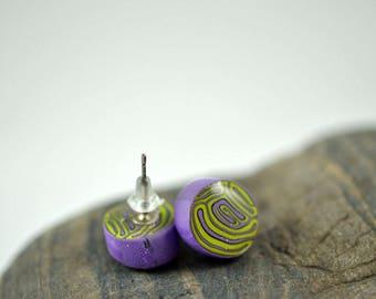 Purple and Green Brain Cane High Gloss Stud Earrings
