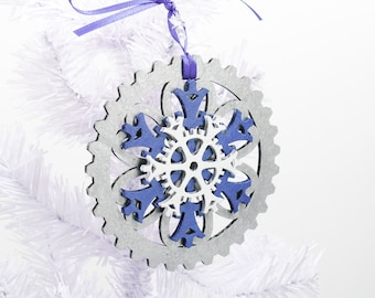 Blue and Silver Steampunk Gear and Snowflake Christmas Ornament, 4-inch