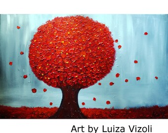 RED TREE 48x30 Colorful Textured Tree of Life Large Oil Painting BLOSSOM Art by Luiza Vizoli Ready to Ship