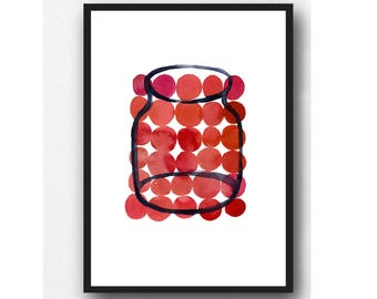 Watercolor red Kitchen art, red wall art, Kitchen decor, modern Kitchen art, red Kitchen wall art print,  gift for her