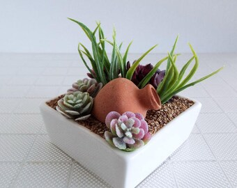 Miniature Cactus Succulent Planter in White Ceramic Square Pot with Sand - Decor for 1:6 Scale Dolls AND Larger Fashion Dolls and Figures