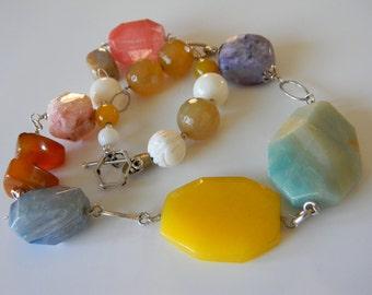 Yellow Green Purple Gemstones Statement Necklace Sterling Silver Chain
