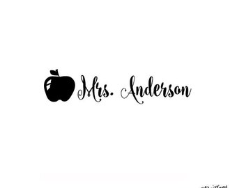 Personalized Custom Rubber Stamp or Self Inking Personal Teacher Stamp Apple -  Teacher Name Signature Homework Gift