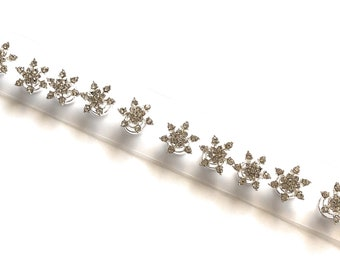 Snowflakes Flower Crystal Rhinestone Hair Coils Twists Spirals Hair Pins, Prom, Bride Maids, First Communion (Pack of 12)