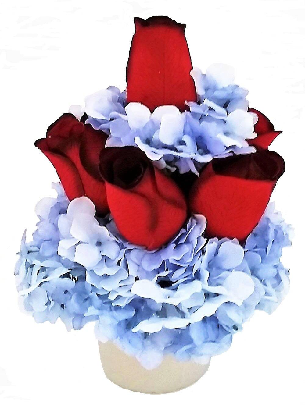 Red roses blue hydrangeas silk flower arrangement artificial gallery photo mightylinksfo