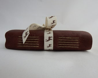 Stag Leather Journal, Deer Notebook, Memory Journal, Blank Book, Hand Bound Notebook, Brown Leather Journal, Mini Sketchbook, Bucket List