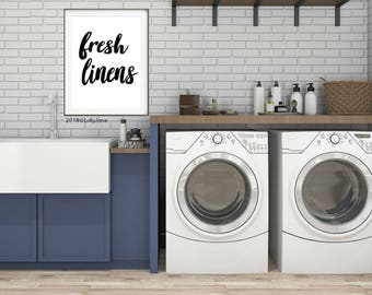 fresh linens laundry room print home decor printable art - INSTANT DOWNLOAD digital printable art