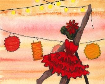 SALE - A5 Art Print / Postcard, Summer Night Party, Watercolor, Gouache, Oil Pastels, Pen, Pencils and Ink