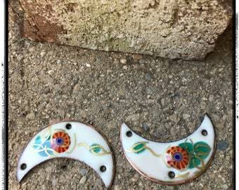 White and Orange Crescent Shape Floral Enamel Charms