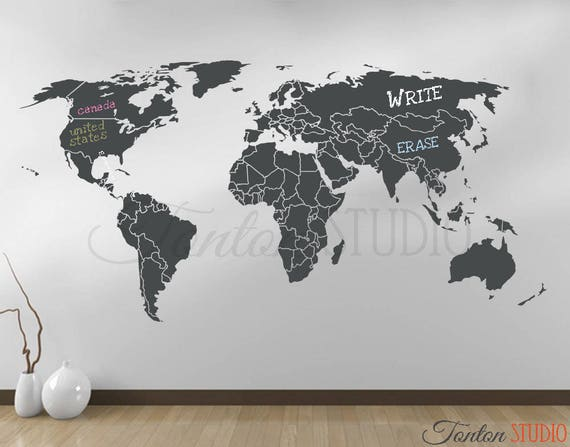 World map wall decal world map decal with antarctica world like this item gumiabroncs Image collections