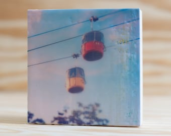 Encaustic Photography Tiny Art Ready-to-Hang Wood Block, Skyride, Carnival, State Fair, Red and Yellow, 4x4 inches