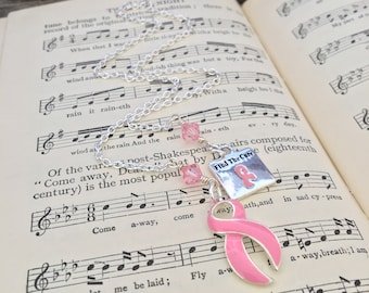 Find The Cure Breast Cancer Awareness bookmark Pink robbon crystal