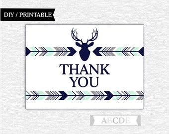 Instant Download Grey, Mint, Dark Navy Woodland Deer Party Thank You cards Thank You notes Birthday party Baby shower (APDWSI002)