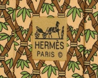 HERMES TIE Auth Mens Silk Necktie Bamboo Shoots Pattern 7296