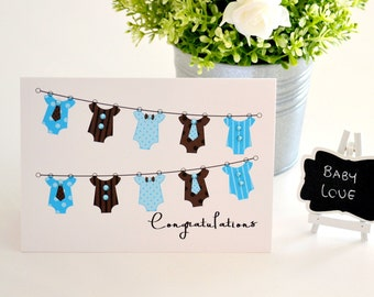 New Baby Boy Card, Pregnancy Congratulations Card, Blue, Baby Rompers, Baby Gift, Expecting Card, Handmade Greeting Card, The Paper Angel