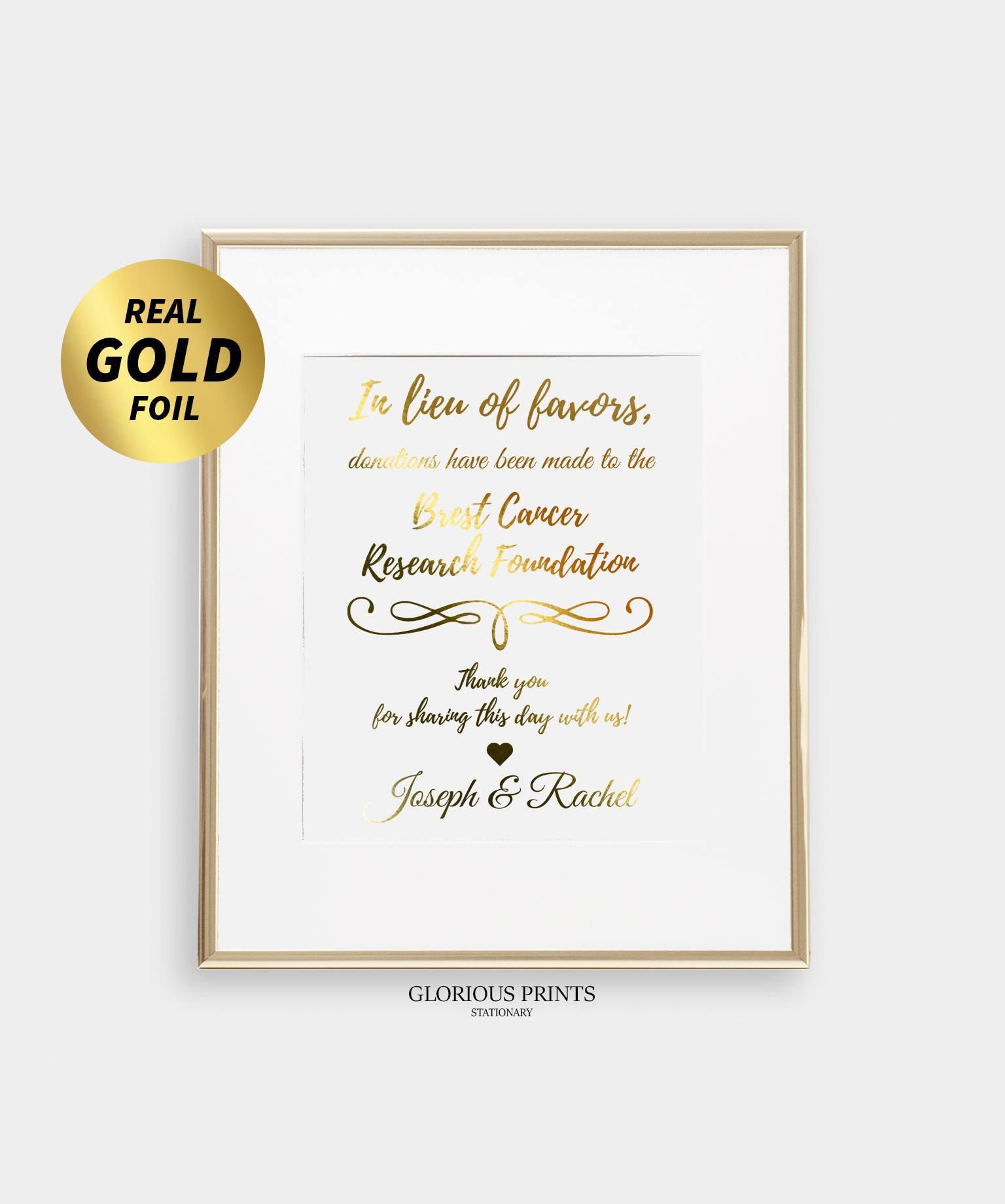 Custom Wedding Favors Sign In Lieu Of Favors Sign Gold Foil
