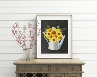 Sunflower, Printable, sunflower decor, sunflower painting, galvanized decor, galvanized, watering can, fall decor, fall decorations, autumn