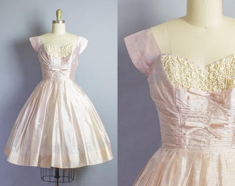 1950s Shelf Bust Silk Party Dress/ XS (33b/25W)