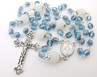 Catholic Rosary Beads - Miraculous Medal Light Blue & White Czech Glass Five Decade Rosary Beads - Personalized Name Rosary - Catholic Gift