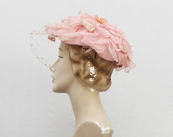 Pink Floral Hat - Vintage 1960s Fabric Flower Womens Hat