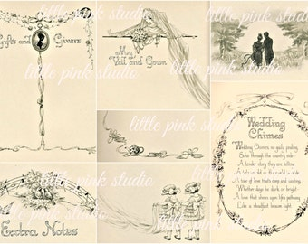 A Vintage Wedding Album,   Printable Collage Sheet (digital download, printable)